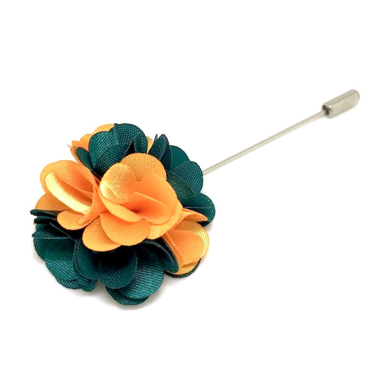 Lapel Pins - Orange and Green Lapel Rose - The Little Link