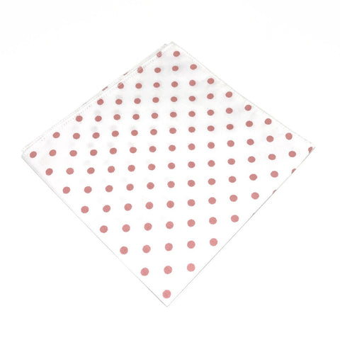 White and Peach Cotton Polka Dot Pocket Square - Gus