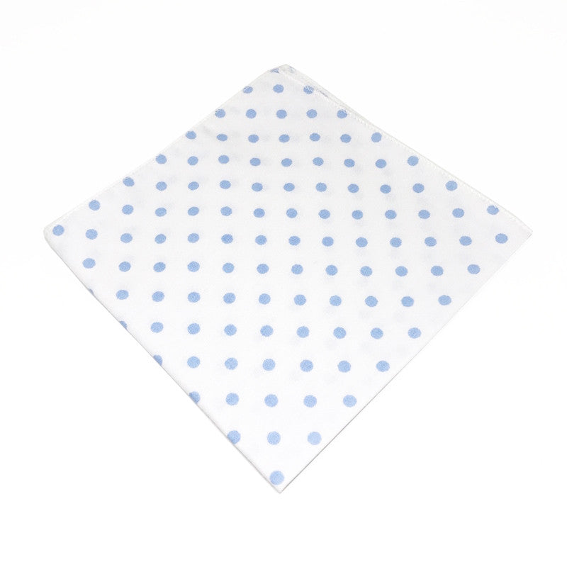 Pocket Squares - White and Blue Cotton Polka Dot Pocket Square - Bowie - The Little Link