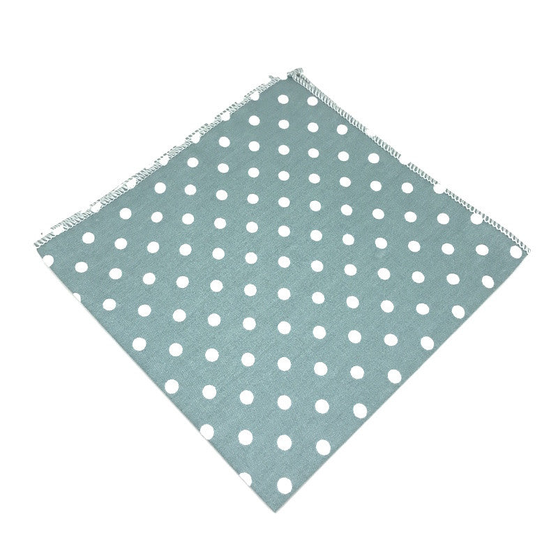 Green and White Polka Dot Cotton Pocket Square - Reeve