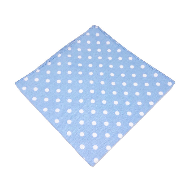 Blue and White Polka Dot Cotton Pocket Square - Ray