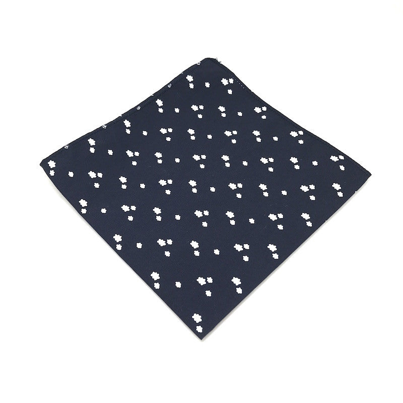 Pocket Squares - Navy Blue Cloud Patterned Pocket Square - Baxter - The Little Link