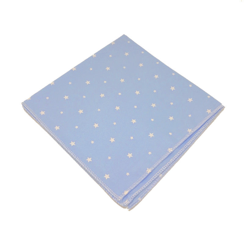 Blue and White Star Print Cotton Pocket Square - Indigo
