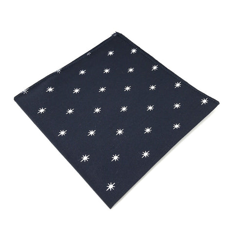 Pocket Squares - Navy Blue Starburst Patterned Cotton Pocket Square - Cadence - The Little Link