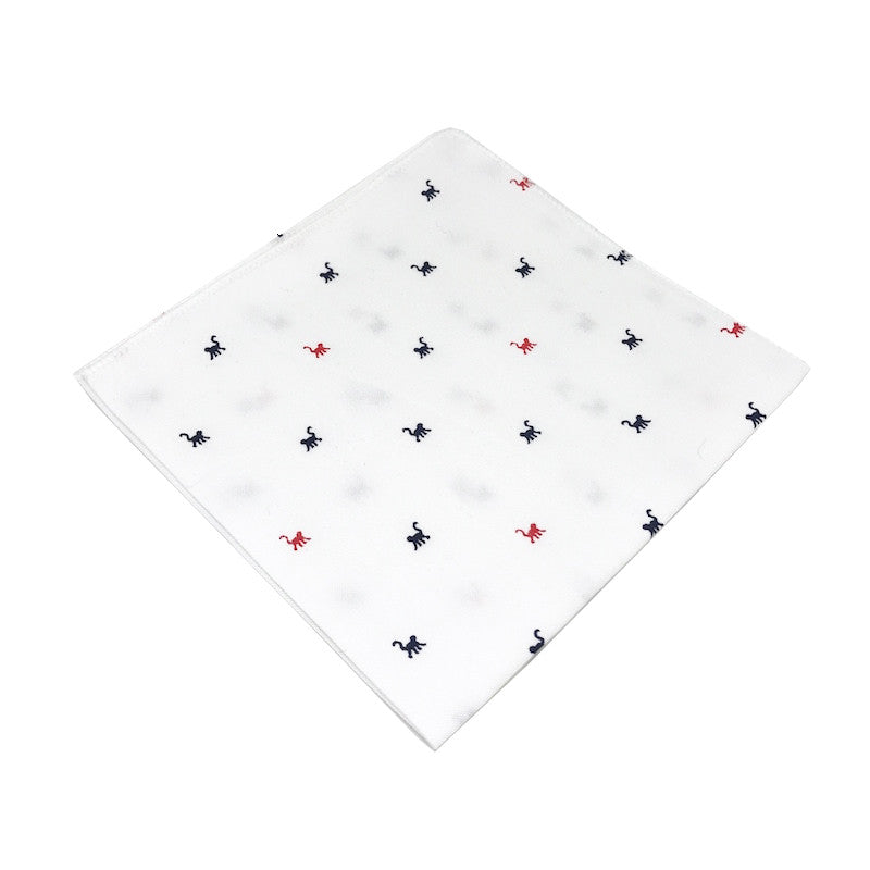 White Monkey Print Cotton Pocket Square - Echo