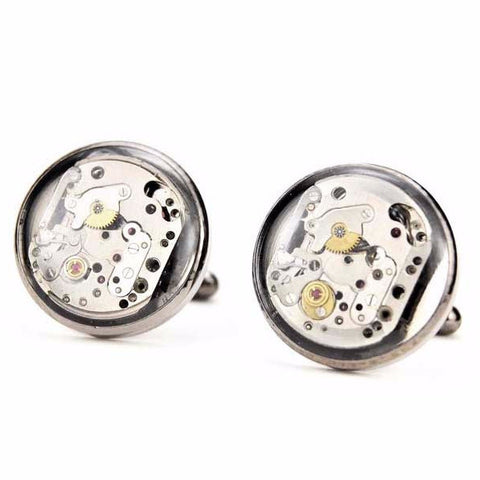 Watch Movement Cufflinks - Round Mechanical Cufflinks by Blue Pendulum - Gunmetal - The Little Link