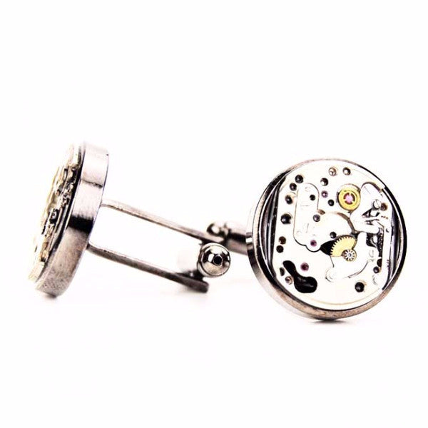Watch Movement Cufflinks - Exposed Gear Cufflinks by Blue Pendulum - Gunmetal - The Little Link