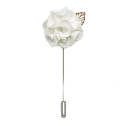 Royal White Lapel Rose Pin Boutonniere