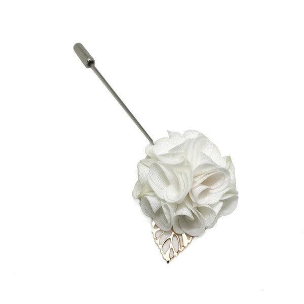 Lapel Pins - Royal White Lapel Rose - The Little Link
