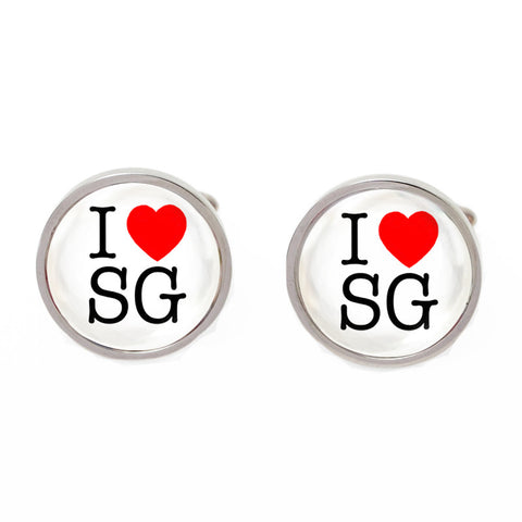 Black and White Round Flag Cufflinks - I Love SG