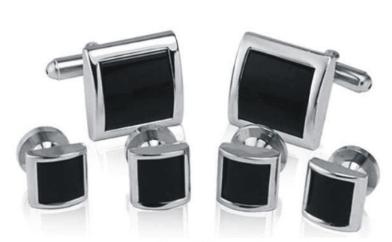 Black and Silver Square Tuxedo Studs - Grant