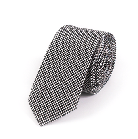 Black and White Textured Cotton Tie - Monochrome