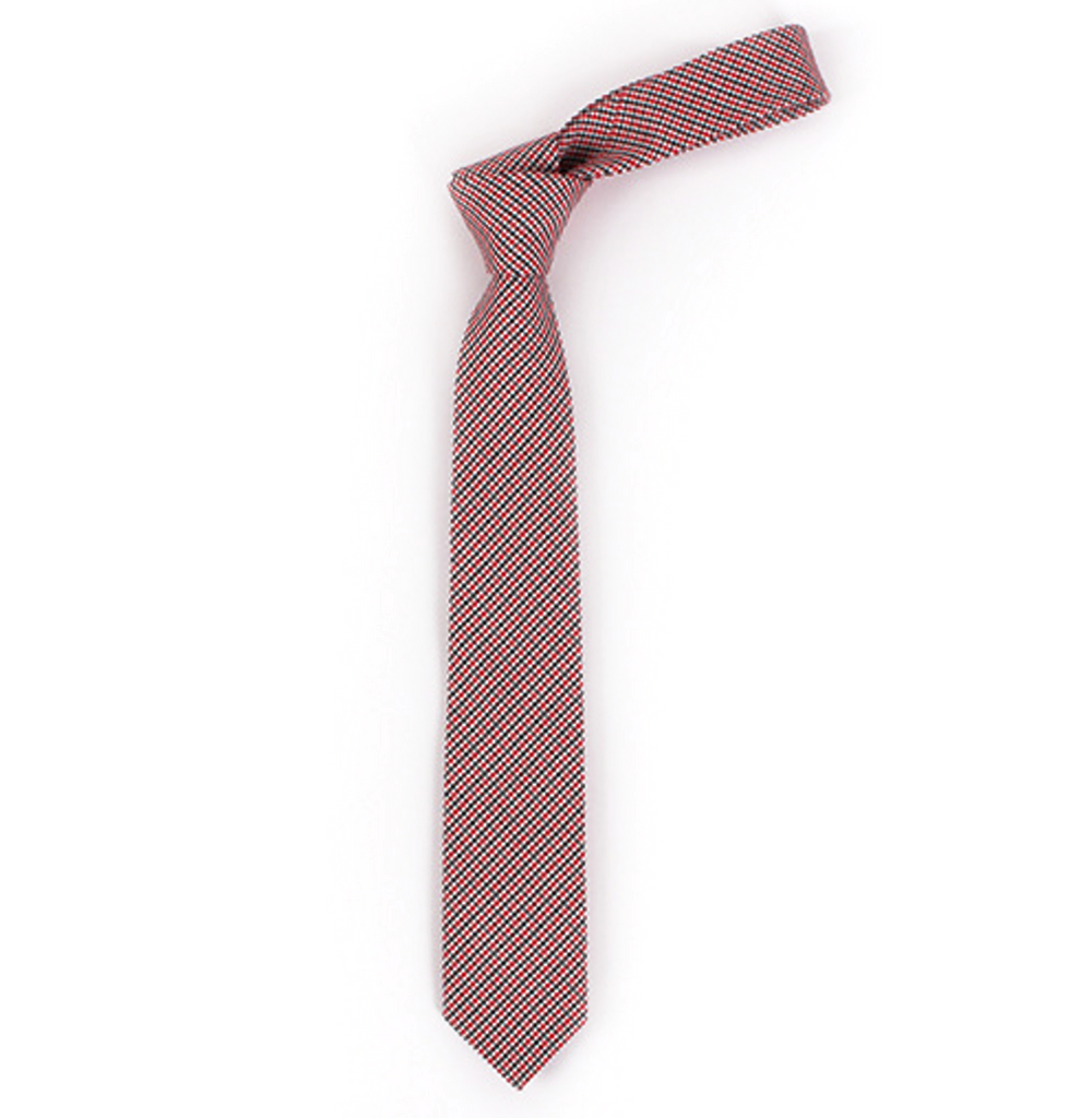 Ties -Red Textured Cotton Tie - Apple - The Little Link
