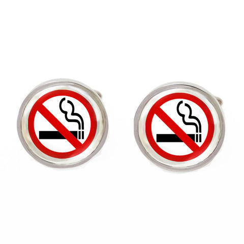 Red and White Novelty Singapore Cufflinks - No Smoking