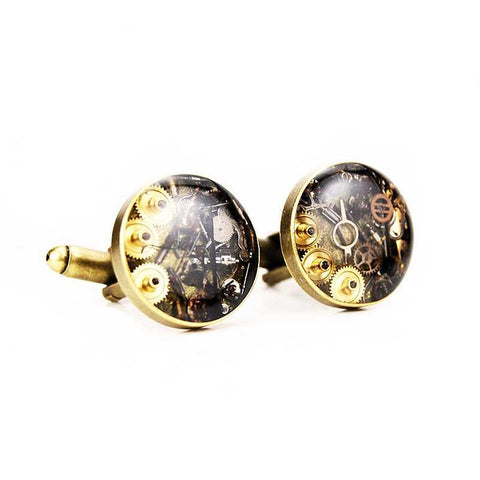 Watch Movement Cufflinks - Steampunk Cufflinks by Blue Pendulum - Antique Brass - The Little Link