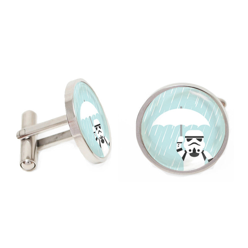 Silver and Blue Novelty Custom Cufflinks - Storm Trooper