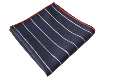 Navy and White Wool Stripe Tie - Fremont