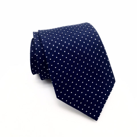 Ties - Navy Blue Polka Dot Tie - Brandon Tie - The Little Link