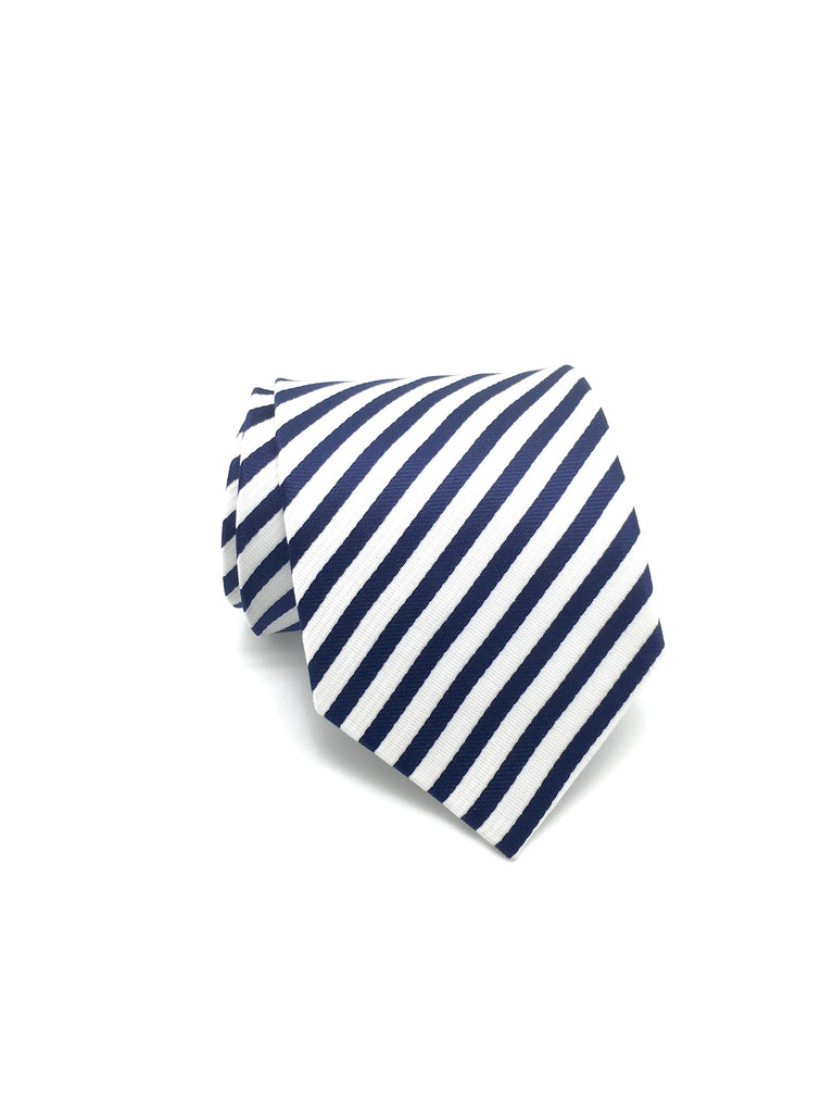 Ivory White and Navy Blue Stripe Tie - Parker