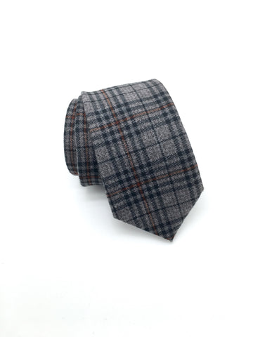 Grey Plaid Tie - Jackson