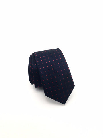 Navy and Red Polka Dot Tie - Evan
