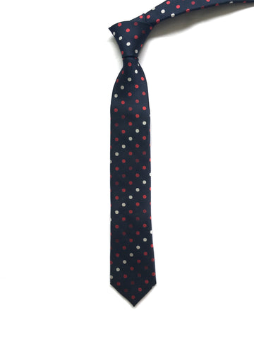 Navy Tie with Red and White Polka Dots - Kevin
