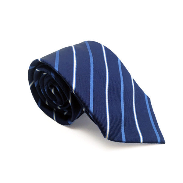 Ties - Navy Blue Stripe Silk Tie - Blaine - The Little Link