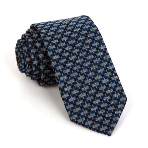 Dark Blue Patterned Wool Tie - Gordon