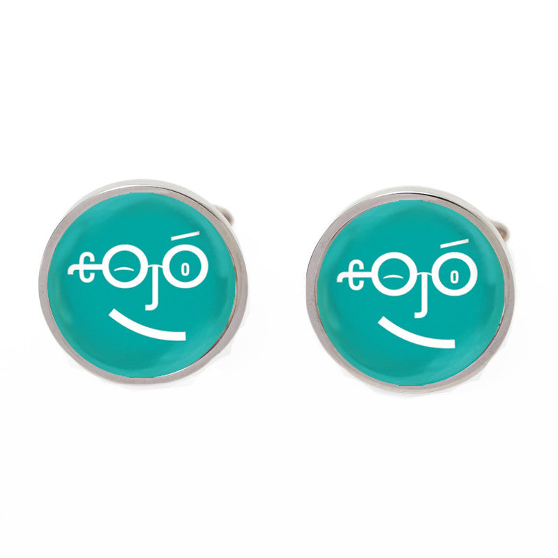 Green Novelty Custom Cufflinks - Type Face