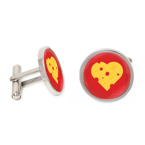 Novelty Cufflinks - Red and Yellow Round Heart Cufflinks - Brie My Valentine - The Little Link