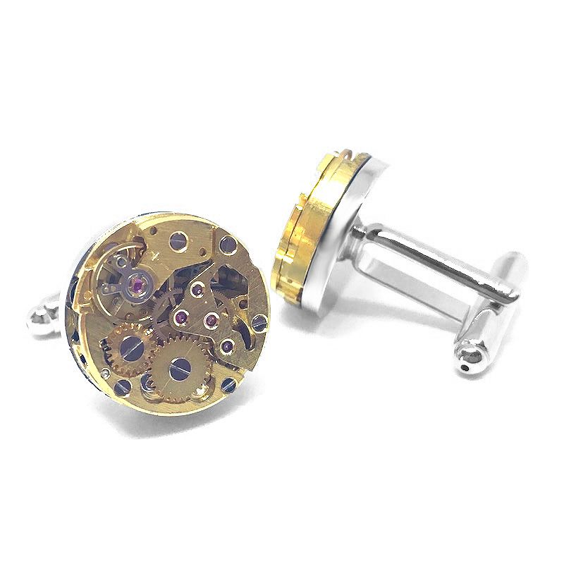 Gold Tourbillon Watch Cufflinks - Watch Movement Theo