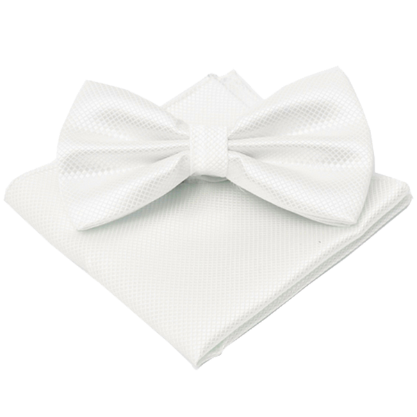 White Textured Satin Bow Tie and Pocket Square Box Set - Raphael