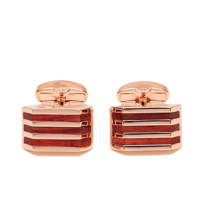 Rose Gold and Wood Cufflinks