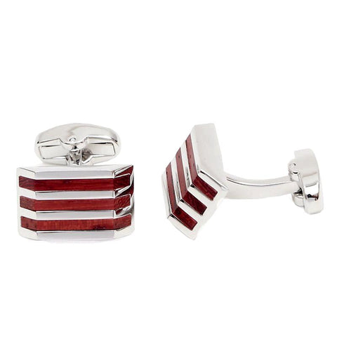 Silver and Wood Stripe Cufflinks