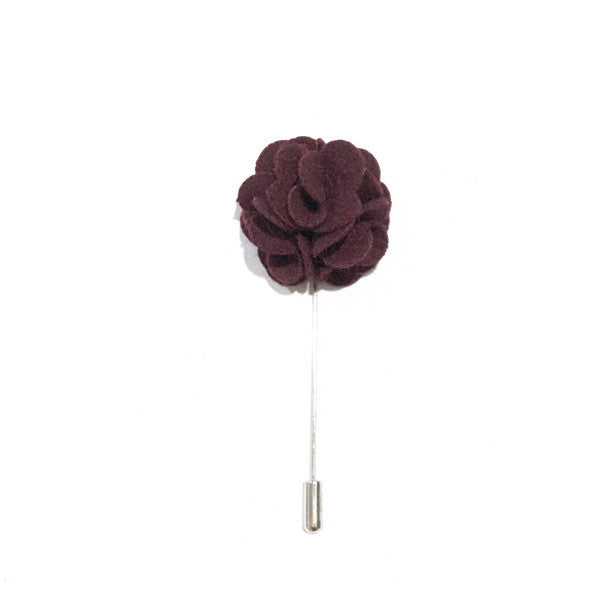 Maroon Wool Lapel Rose Pin Boutonniere