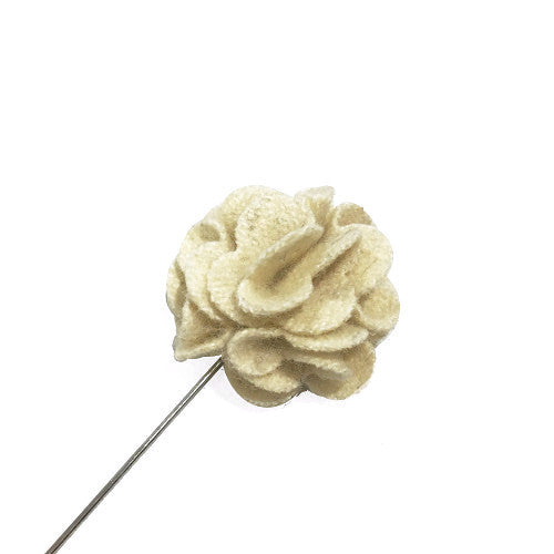 Lapel Pins - Cream Wool Lapel Rose - The Little Link