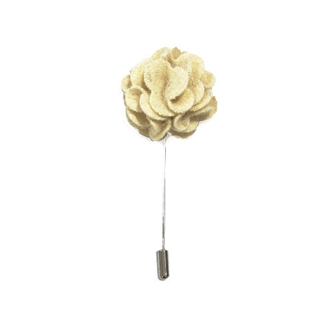 Cream Wool Lapel Rose