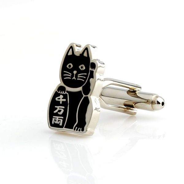 Black Animal Cufflinks - Lucky Cat (Black)