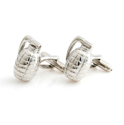 Silver Novelty Cufflinks - Grenade