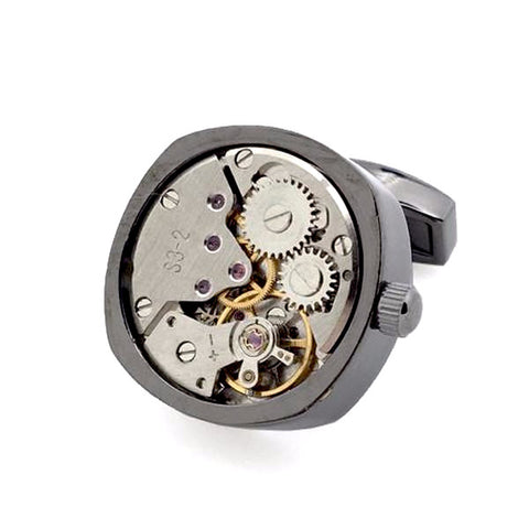 Gunmetal Tourbillion Watch Movement Cufflinks - Zoe