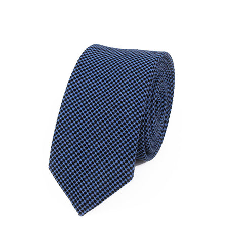 Ties - Blue Cotton Textured Tie - Blueberry - The Little Link