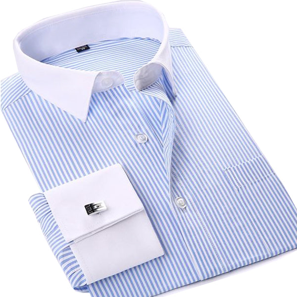 French Cuff Dress Shirt - Blue Striped