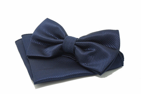 Bowties - Navy Blue Textured Satin Bowtie and Pocket Square Set - Antonio - The Little Link