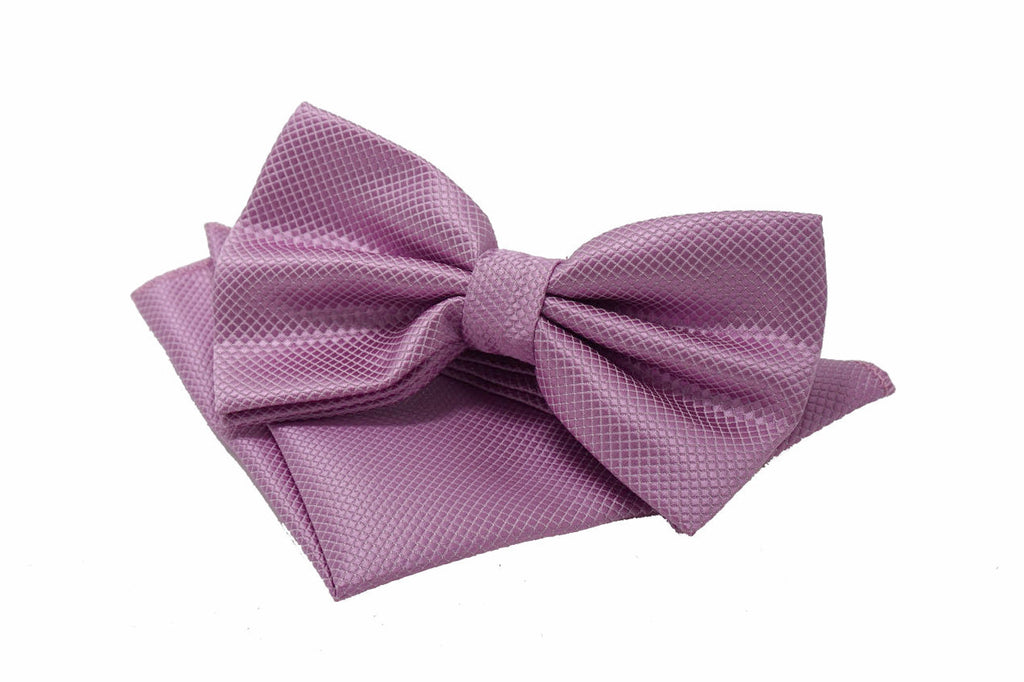 Bowties - Pink Textured Satin Bowtie and Pocket Square Set - Ariana- The Little Link