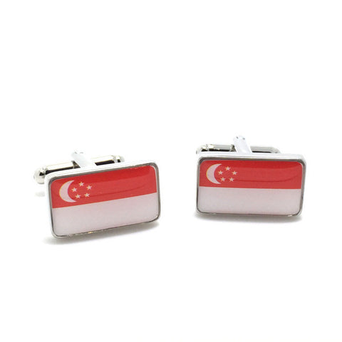 Red and White Flag Cufflinks - Singaporean