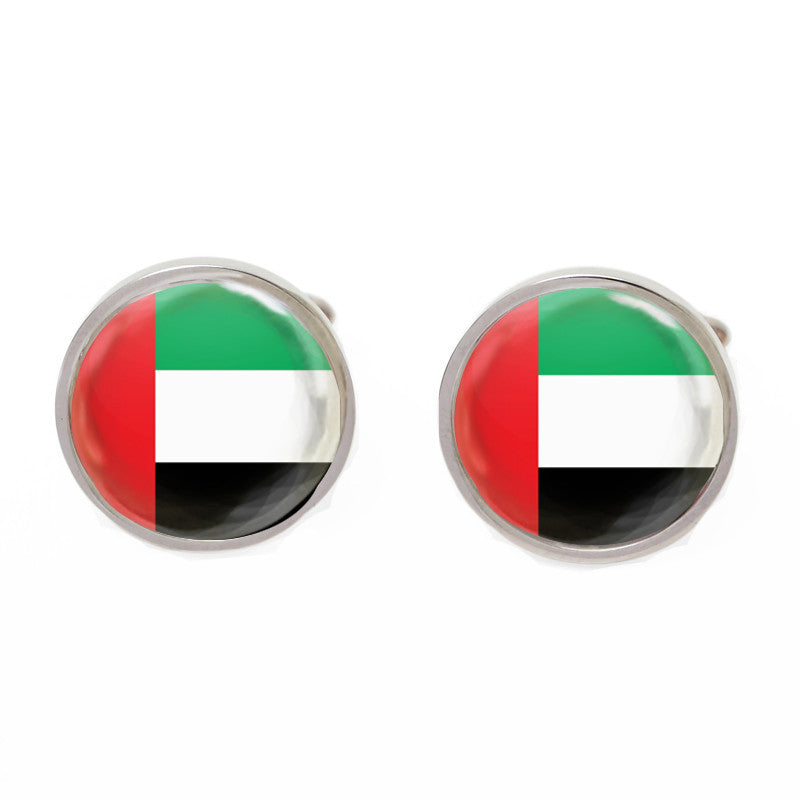 Silver Round Flag Cufflinks - Emirates Flag