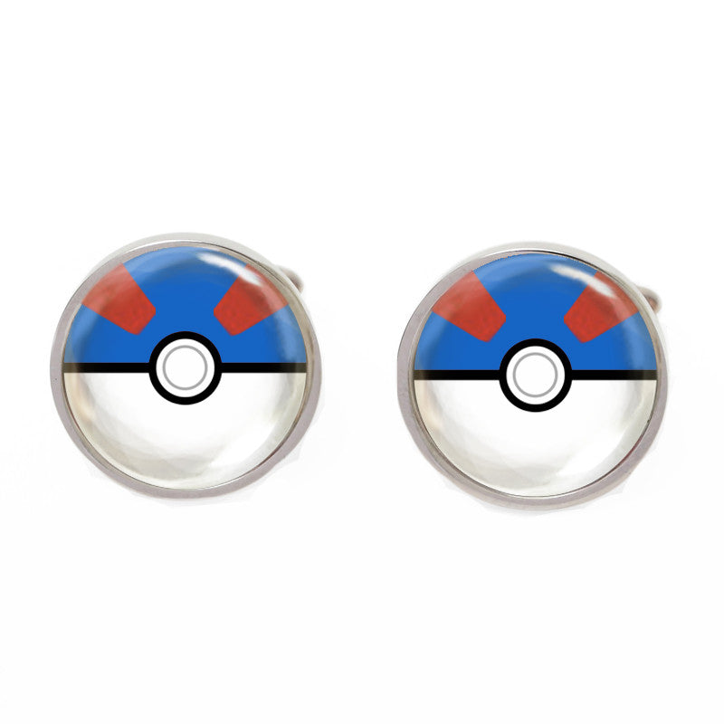 Blue and White Cartoon Cufflinks - Pokemon Gotta Catch Em All (Blue)