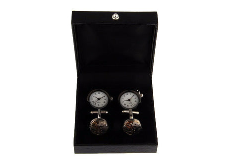 Black Leather Cufflink 2 Pair Gift Box