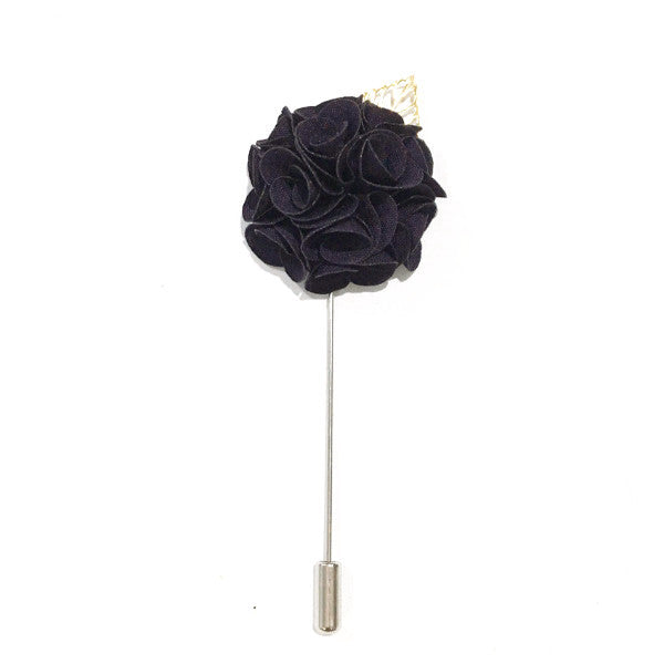 Royal Black Lapel Rose Pin Boutonniere