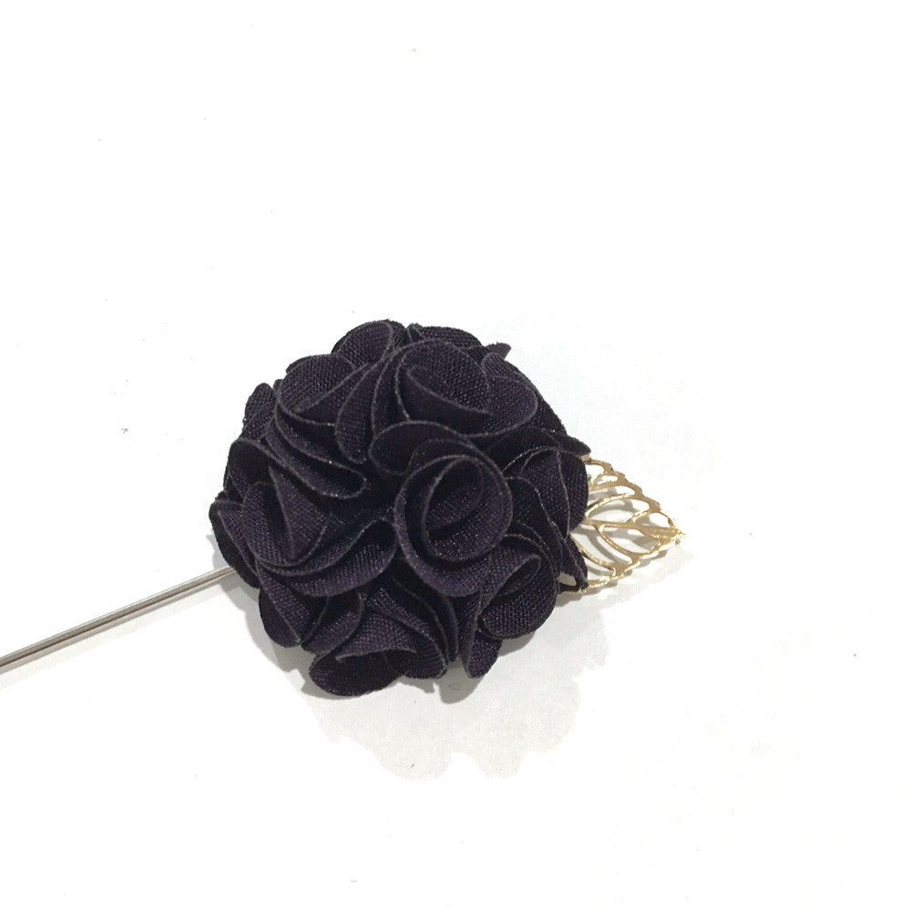Lapel Pins - Royal Black Lapel Rose - The Little Link